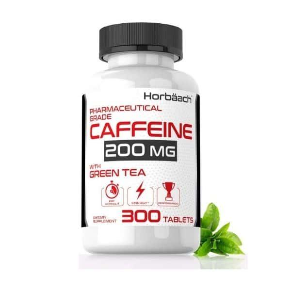 Caffeine Pills 200mg with Green Tea by Horbaach